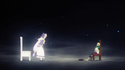KonoSuba Season 2 / Episode 10 / Eris watching over a nothing-but-bones Kazuma