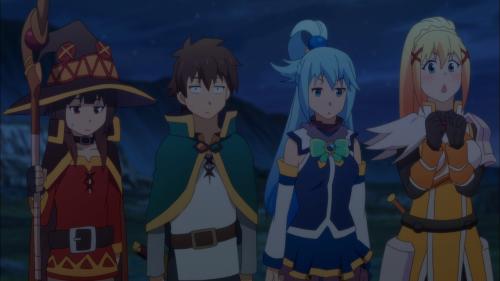 KonoSuba Season 2 / Episode 10 / Megumin, Kazuma, Aqua, and Darkness in disbelief