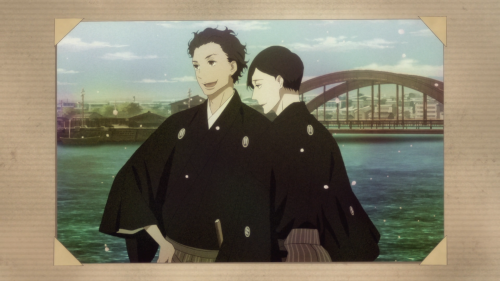 Shouwa Genroku Rakugo Shinjuu: Sukeroku Futatabi-hen / Episode 12 / A picture of both Sukeroku and Bon in their younger days way back when