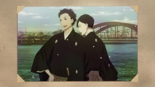 Shouwa Genroku Rakugo Shinjuu: Sukeroku Futatabi-hen / Episode 12 / A picture of both Sukeroku and Bon in their younger days way back when