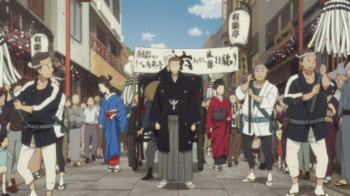 Shouwa Genroku Rakugo Shinjuu: Sukeroku Futatabi-hen / Episode 1 / Yotaro celebrating his first name change
