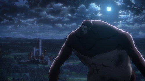 Shingeki no Kyojin Season 2 / Episode 3 (28 overall) / Beast Titan looking over his shoulder in the dead of night with a full moon overhead