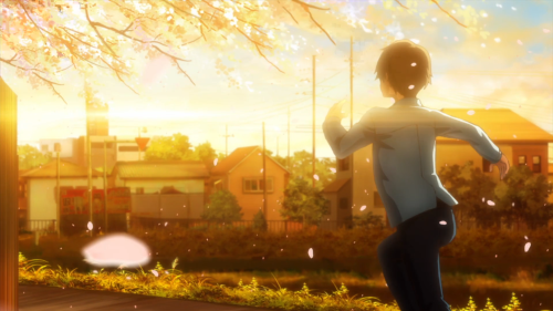 Tsuki ga Kirei / Episode 12 / Kotarou running to catch one last glimpse of the train taking Akane to her new home