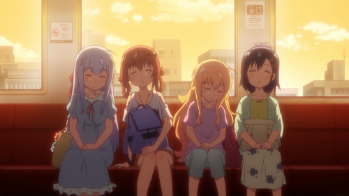 Gabriel DropOut / Episode 4 / Raphi, Satania, Gab, and Vigne napping on the subway ride home after a fun summer vacation together