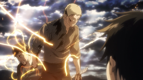 Shingeki no Kyojin Season 2 / Episode 6 (31 overall) / Bertholdt and Reiner about to morph into their Titan forms
