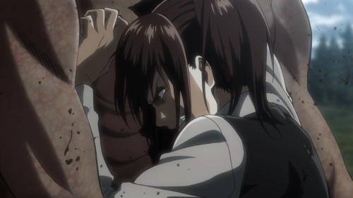 Shingeki no Kyojin Season 2 / Episode 2 (27 overall) / Sasha blinding a Titan with an up-close-and-personal arrow to the eye