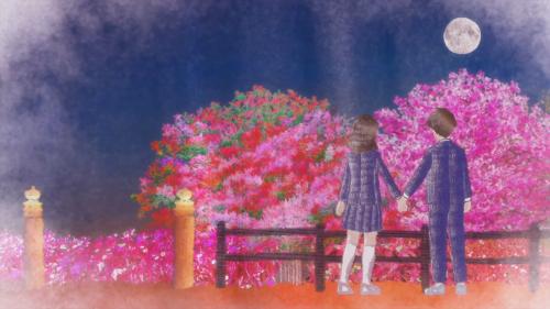 "Tsuki ga Kirei / Episode 2 / Frame from the anime's ending track titled ""Tsuki ga Kirei"""