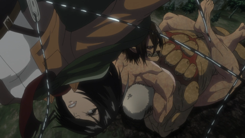 Shingeki no Kyojin Season 2 / Episode 7 (32 overall) / Mikasa helping Eren to defeat Reiner
