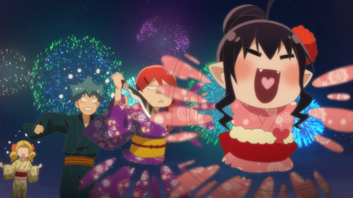 Renai Boukun / Episode 7 / Guri, Akane, Seiji, and Yuzu chasing after one another during a festival