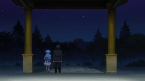 Shuumatsu Nani Shitemasu ka? Isogashii desu ka? Sukutte Moratte Ii desu ka? / Episode 8 / Chtholly and Willem standing next to each other while watching some shooting stars