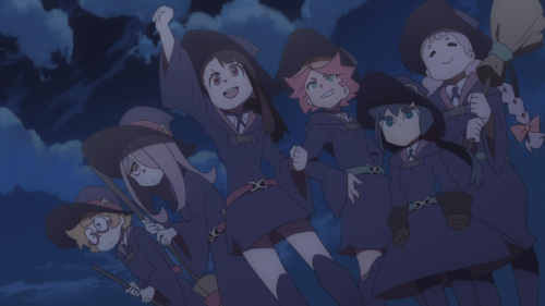 Little Witch Academia / Episode 5 / Lotte, Sucy, Akko, Amanda, Constanze, and Jasminka together as friends