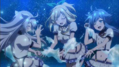 Rokudenashi Majutsu Koushi to Akashic Records / Episode 7 / Sisti, Rumia, and Re=L splashing water at night in a friendship-bonding moment