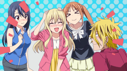 Aho Girl / Episode 5 / Iinchou, Sayaka, Yoshiko, and Ryuuichi praising Sayaka for convincing Akutsu to go on the summer-vacation trip with them