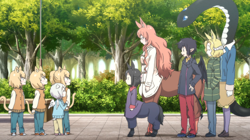 Centaur no Nayami / Episode 11 / The Chi Sisters, Sue, Shino, Hime, Nozomi, Kyouko, and Suu running into each other at the park