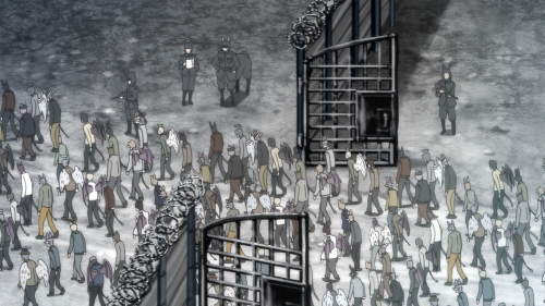 Centaur no Nayami / Episode 9 / Many hybrid people being funneled into a concentration camp