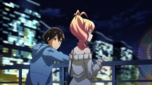Hajimete no gal / Episode 10 / Junichi and Yukana together at the end of their amusement-park date