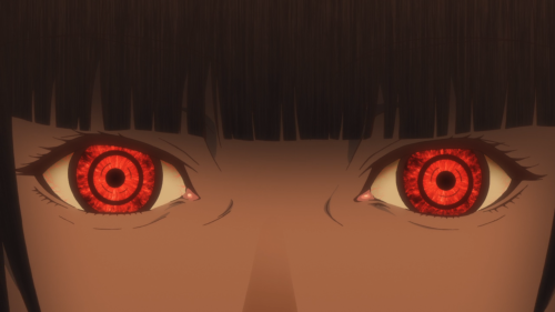 Kakegurui / Episode 1 / Yumeko staring with red eyes alight
