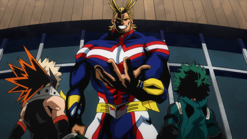 Boku no Hero Academia 2nd Season / Episode 21 / All Might standing before Bakugou and Deku