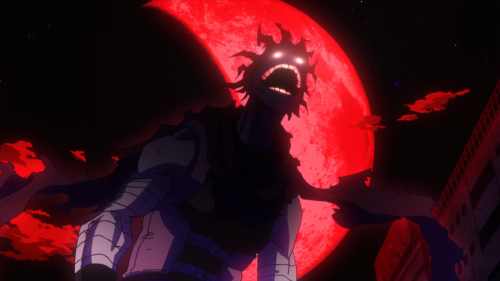 Boku no Hero Academia 2nd Season / Episode 25 / A scary depiction of Stain beneath a red moon