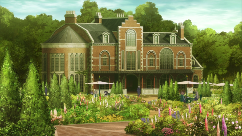 Princess Principal / Episode 2 / A scenic shot of the girls' garden
