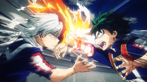 Boku no Hero Academia 2nd Season / Episode 5 / Todoroki and Deku battling it out during the sports festival