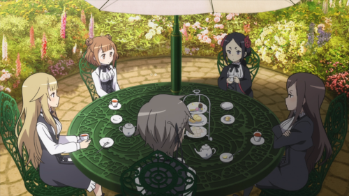 Princess Principal / Episode 7 / Princess, Beatrice, Chise, Dorothy, and Ange having tea and cookies outside together in the garden