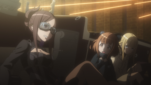 Princess Principal / Episode 12 / Dorothy, Beatrice, and Ange (in disguise) hiding behind their car during a skirmish
