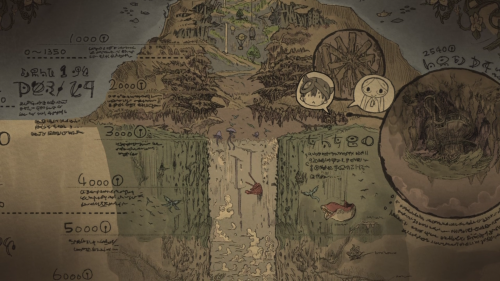 Made in Abyss / Episode 6 / A picture of the map that depicts the Abyss and both Riko and Reg's current location