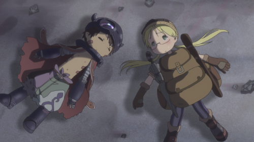 Made in Abyss / Episode 9 / Reg passed out and Riko exhausted after their most recent ordeal way down in the mid-depths of the Abyss