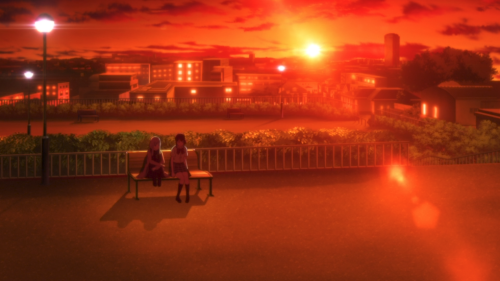 Koi to Uso / Episode 4 / Igarashi speaking with Misaki on a park bench outside during a sunset