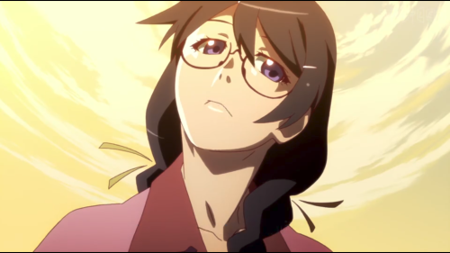 Koyomimonogatari / Episode 1 / Hanekawa speaking with Araragi about a stone statue