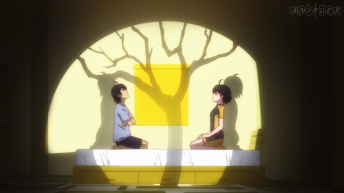 Koyomimonogatari / Episode 6 / Araragi and Karen speaking about a mysterious tree