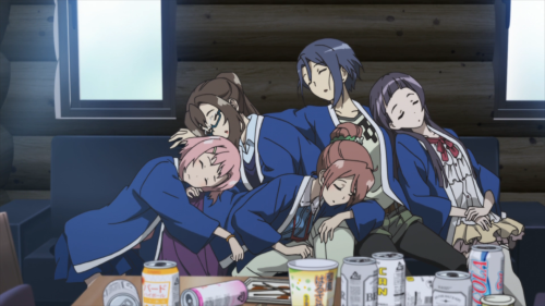 Sakura Quest / Episode 25 / Yoshino, Sanae, Shiori, Maki, and Riri exhausted after a fun celebration