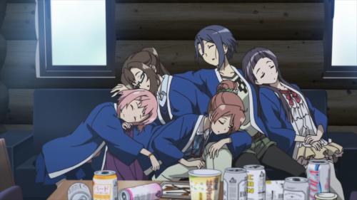 Sakura Quest / Episode 25 / Yoshino, Sanae, Shiori, Maki, and Riri exhausted after a fun celebration