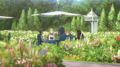 Princess Principal / Episode 1 / Ange, Charlotte, Dorothy, Beatrice, and Chise sitting together in the garden during tea time