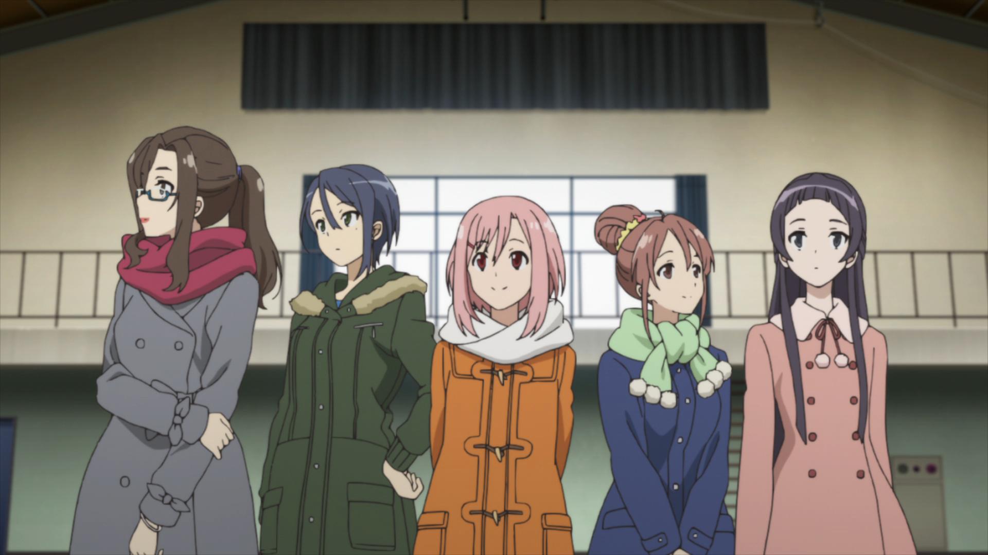 Sakura Quest / Episode 20 / Sanae, Maki, Yoshino, Shiori, and Ririko standing together
