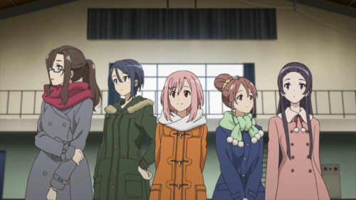 Sakura Quest / Episode 20 / Sanae, Maki, Yoshino, Shiori, and Ririko standing together