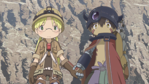 Made in Abyss / Episode 4 / Riko and Reg holding hands as they prepare to descend further into the Abyss
