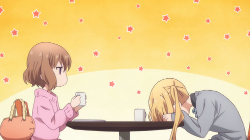 Blend S / Episode 10 / Mafuyu helping Kaho as she laughs about an imaginative sequence involving her senpai