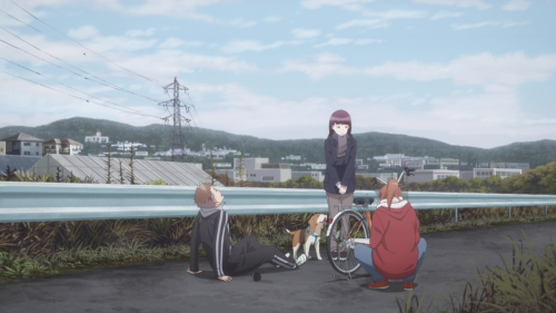 Just Because! / Episode 3 / Haruto, Hazuki (with her dog), and Yoriko meeting up