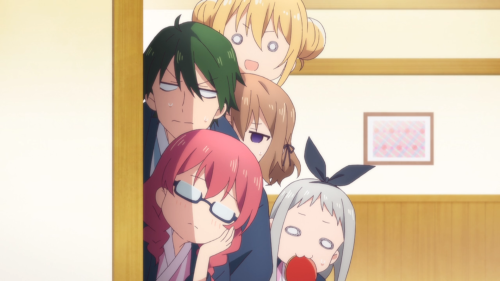 Blend S / Episode 12 / Kaho, Mafuyu, and some of the others eyeing the would-be couple from afar