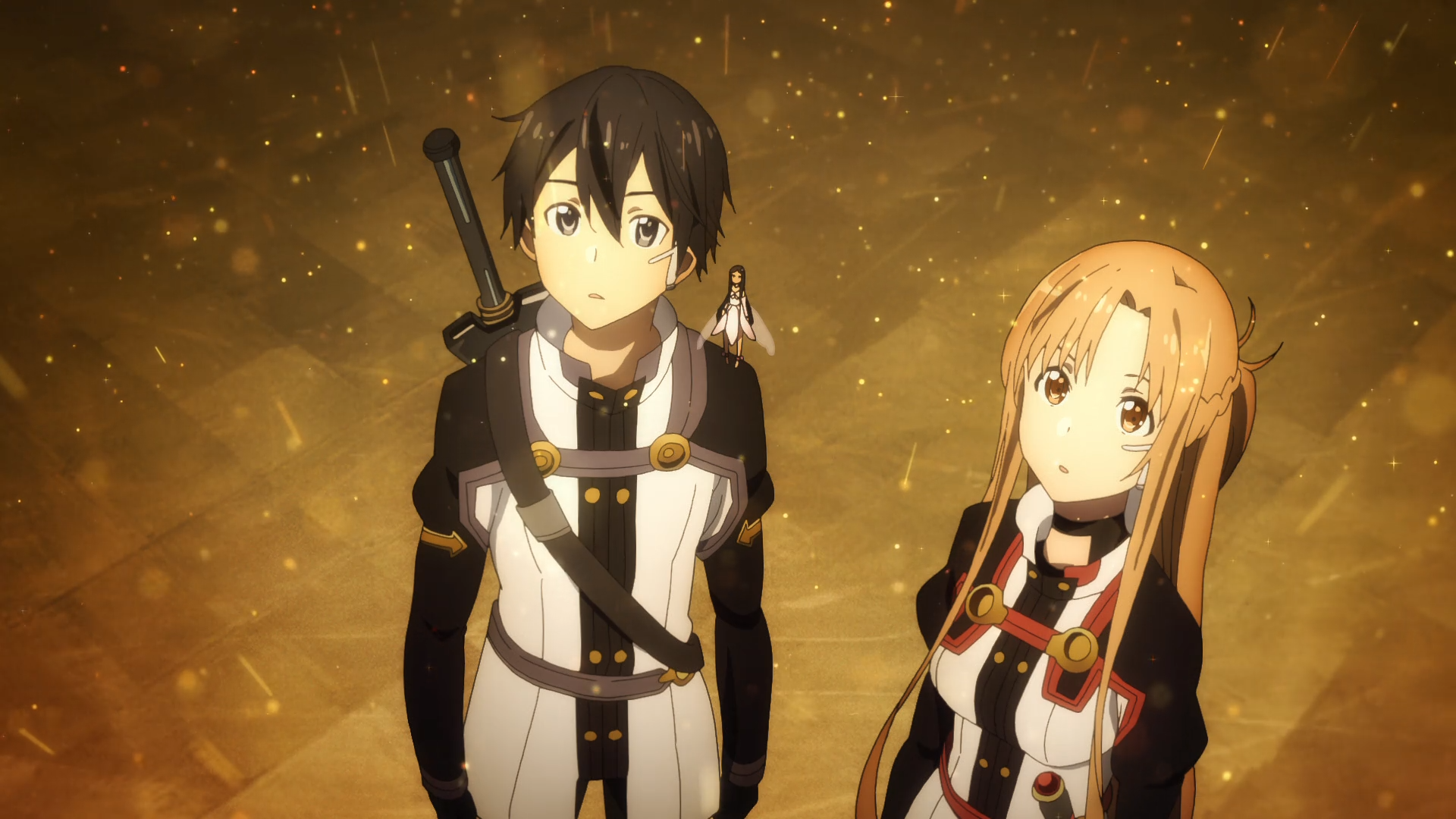 Sword Art Online Movie: Ordinal Scale / Kirito, Yui, and Asuna standing together