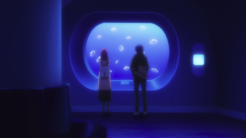 Just Because! / Episode 2 / Mio and Eita standing together at the aquarium