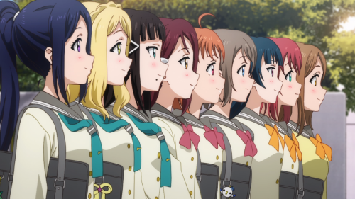 Love Live! Sunshine!! 2nd Season / Episode 12 / The girls of Aquors standing side-by-side