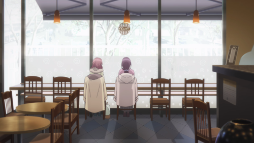 Just Because! / Episode 5 / Mio and Hazuki talking with each other at a quaint cafe