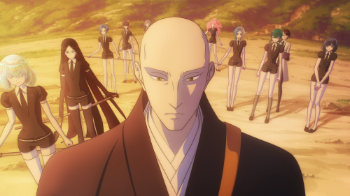 Houseki no Kuni / Episode 5 / Sensei and almost all the other characters standing ready on the edge of the water