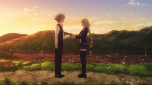 Fate/Apocrypha / Episode 19 / Jeanne holding Sieg's hand while talking about his clear kindness
