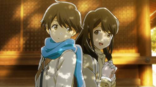 Tsuki ga Kirei / Episode 11 / Kotarou and Akane back-to-back while on a date