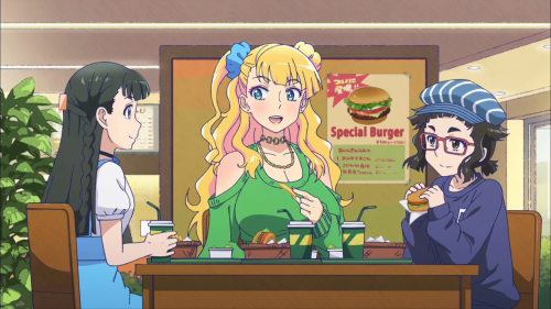 Oshiete! Galko-chan / Episode 6 / Ojou, Galko, and Otako hanging out and eating lunch at the mall