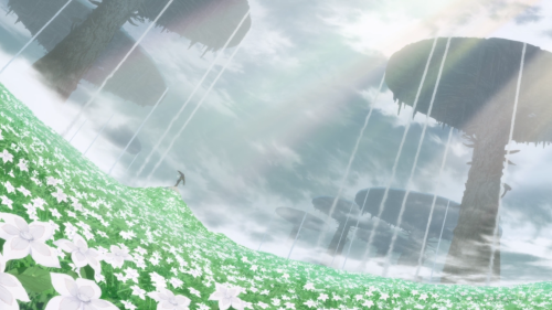 Made in Abyss / Episode 6 / Lyza's mining pick surrounded by a field of flowers